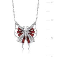 Gumush Zirkon Taşlı Gümüş Kırmızı Kelebek Kolye