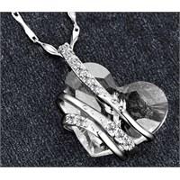Monemel Şeffaf Swarovski Taşlı Gümüş Kalp Kolye