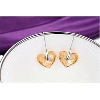 Monemel Swarovski® Taşlı Kalp Küpe