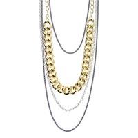Chiccy Çoklu Görünüm Altın Gümüş Zincirler Uzun Kolye