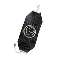 Chiccy Dev Gümüş Spiral Objeli Deri Bileklik