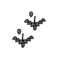 Chiccy Siyah Kristal Taşlı Yapraklar Hayalet Küpe