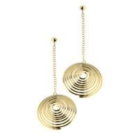 Chiccy Altın Uzun Zincirli Spiral Çelik Küpe