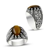 Beyazıt Takı Kaplan Gözü Doğal Taşlı Erzurum El İşi Gümüş Erkek Yüzüğü