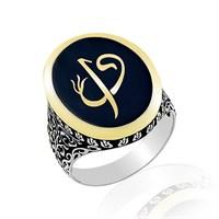 Beyazıt Takı Elif Vav Harfli 925 Ayar Gümüş Yüzük