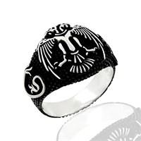 Beyazıt Takı Çift Başlı Kartal Motifli 925 Ayar Gümüş Yüzük