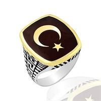 Beyazıt Takı 925 Ayar Gümüş Yüzük Mustafa Kemal Atatürk Motifli