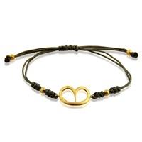 Pırlanta Hediyeler Büyük Kalp İpli Altın Bileklik (Sarı Altın)