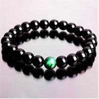 Takı&Trend Siyah Oniks Yeşil Kaplan Gözü Doğal Taş Bileklik