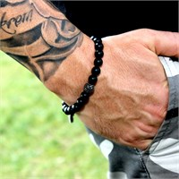 Takı&Trend Siyah Mat Oniks Mıcro Pave Doğal Taş Bileklik