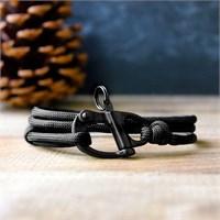 Takı&Trend Survıval Paracord 550 Siyah Çelik Klips Bileklik