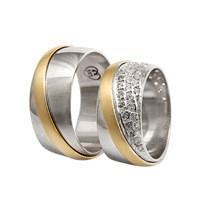 Arjuna Gümüş Tek Taş El İşi Çift Alyans Al0677