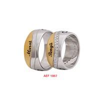 Arjuna Gümüş Tek Taş El İşi Çift Alyans Al1067