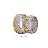 Arjuna Gümüş Tek Taş El İşi Çift Alyans Al1075