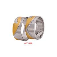 Arjuna Gümüş Tek Taş El İşi Çift Alyans Al1080