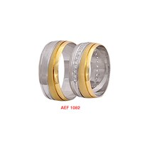 Arjuna Gümüş Tek Taş El İşi Çift Alyans Al1082