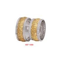 Arjuna Gümüş Tek Taş El İşi Çift Alyans Al1090