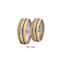 Arjuna Gümüş Tek Taş El İşi Çift Alyans Al1092