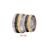 Arjuna Gümüş Tek Taş El İşi Çift Alyans Al1094