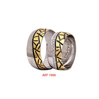 Arjuna Gümüş Tek Taş El İşi Çift Alyans Al1095