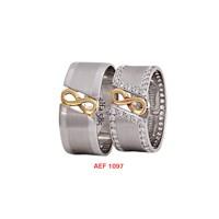 Arjuna Gümüş Tek Taş El İşi Çift Alyans Al1097