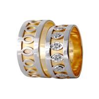 Arjuna Gümüş Tek Taş El İşi Çift Alyans Al1121