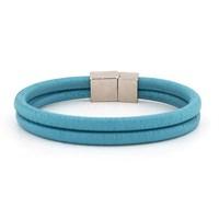 Solfera Mıknatıslı Mavi İkili Deri Erkek Bileklik Bt208