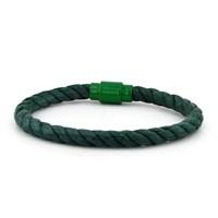 Solfera Yeşil Halat Mıknatıs Klips Erkek Bileklik Bt226