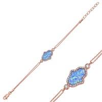 Tekbir Silver Gümüş Mavi Opal Hamse Bileklik