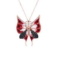 Dhamany Taşlı Kırmızı Kelebek Gümüş Kolye