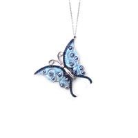 Dhamany Taşlı Mavi Kelebek Gümüş Kolye