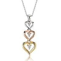 Melin Paris Pırlanta Altın Üç Kalp Kolye