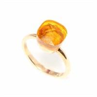 Nusret Takı 925 Ayar Gümüş Sitrin Renk Taşlı Yüzük - Sarı