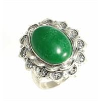 Nusret Takı 925 Ayar Gümüş Telkari Yeşil Akik Taşlı Yüzük