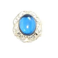 Nusret Takı 925 Ayar Gümüş,Ajurlu,Parlement Mavisi Taşlı Yüzük