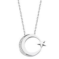 Tesbihane 925 Ayar Gümüş Zirkon Taşlı Ayyıldız Kolye