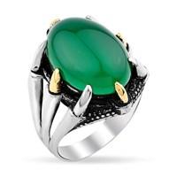 Tesbihevim Yeşil Akik Taşlı Kartal Pençeli Erkek Gümüş Yüzük