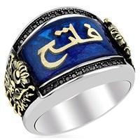 Tesbihevim Arapça İsim Yazılı Mineli Gümüş Yüzük