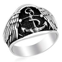 Tesbihevim Çapa Simgeli Denizci Erkek Gümüş Yüzüğü