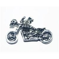 Cadının Dükkanı Motorsikletli İskelet Çelik Kolye Ucu