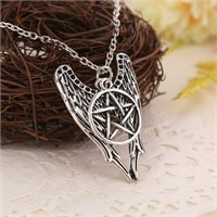 Köstebek Supernatural Castiel Pentacle Angel Wings Kolye