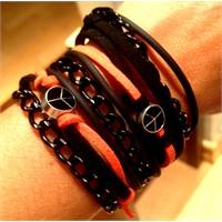 Betico Fashion Siyah & Turuncu Turuncu Siyah Aşkı Bileklik