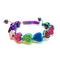 Betico Fashion Renkli Şeker Kalpler Bilekliği