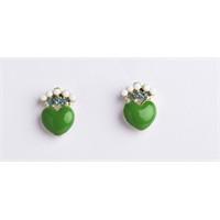 Betico Fashion Yeşil Taşlı Kalpli Küpe