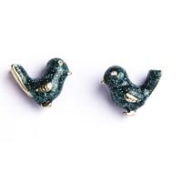 Betico Fashion Yeşil Vintage Kuş Küpe