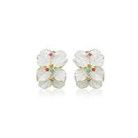 Betico Fashion Beyaz Orkide Küpe