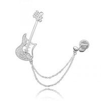Betico Fashion Gümüş Gitar Broş
