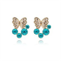 Betico Fashion Mavi Kelebek Küpe