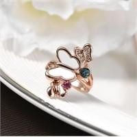 Betico Fashion Altın Kelebekler Vadisi Kristal Taşlı Yüzük