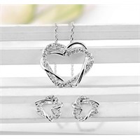 Betico Fashion Gümüş Kristal Taşlı Kalpli Kolye & Küpe Seti